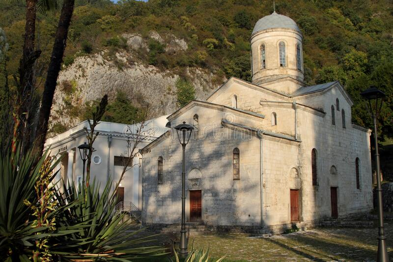 Temple of Simon the Canonite in New Athos on a summer day royalty free stock photos