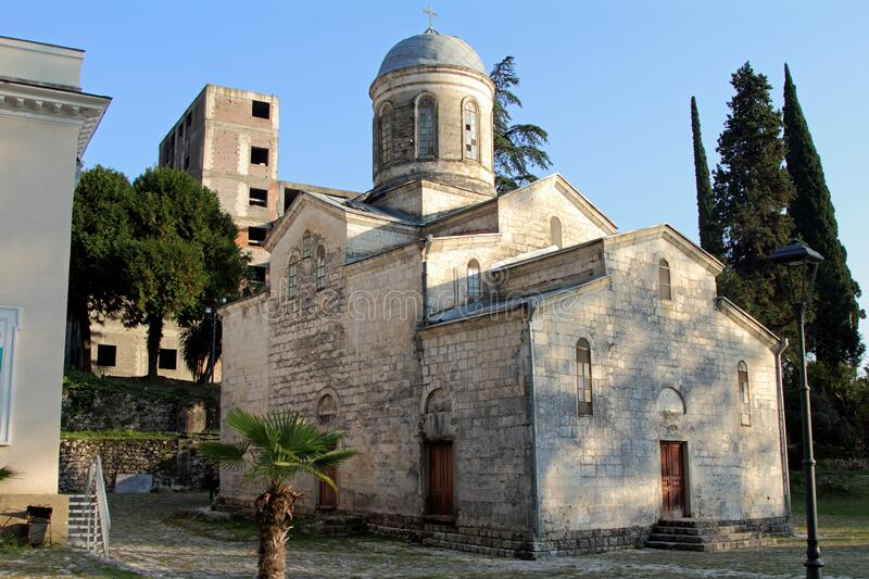 Temple of Simon the Canonite in New Athos in summer stock photos