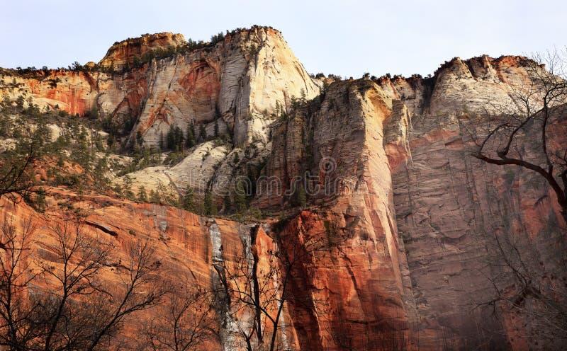 Temple Sinawava Red Rock Wall Zion Canyon Utah stock photo