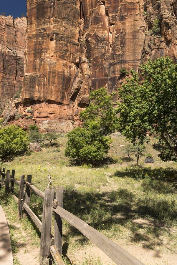 Temple of Sinawava trailhead Zion National Park stock photo