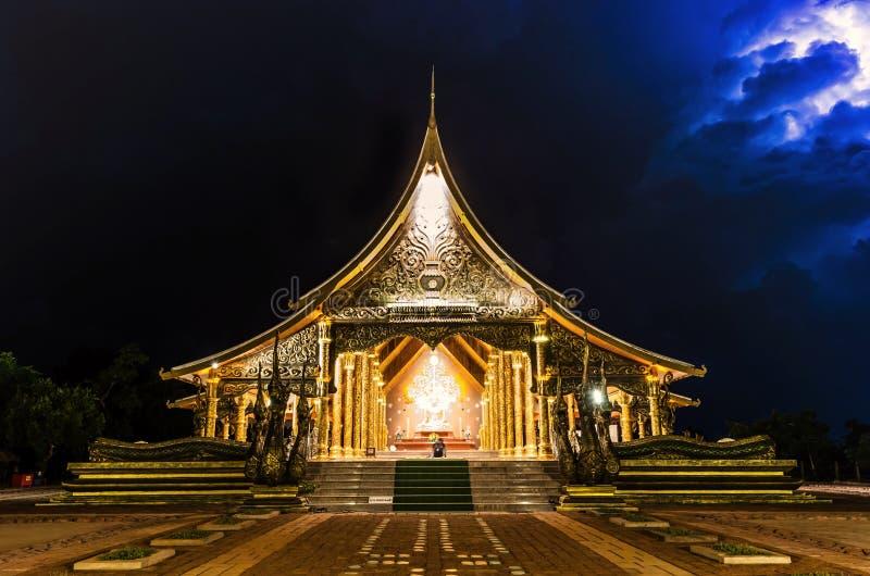 Temple Sirindhorn Wararam Phuproud,artistic, Thailand ,public pl. Temple Sirindhorn Wararam Phuproud Ubon Ratchathani, Thailand is a public place where people royalty free stock photo