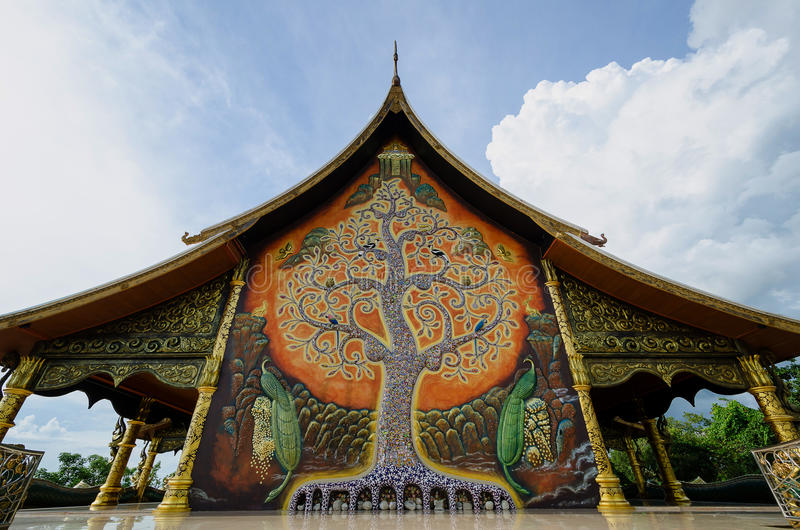 Temple Sirindhorn Wararam Phuproud,artistic, Thailand ,public pl. Temple Sirindhorn Wararam Phuproud Ubon Ratchathani, Thailand is a public place where people royalty free stock images