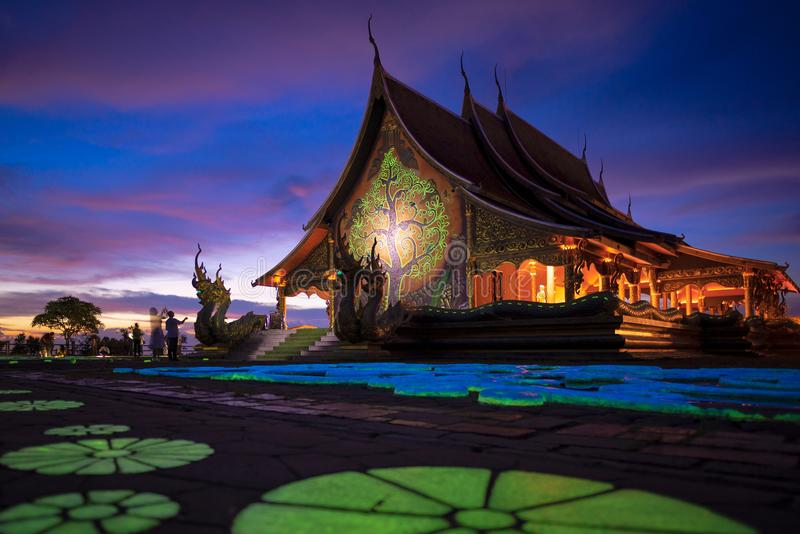Temple Sirindhorn Wararam Phuproud at night. In Ubon Ratchathani Province,Thailand.The famous public temple of buddhism for tourist stock photo