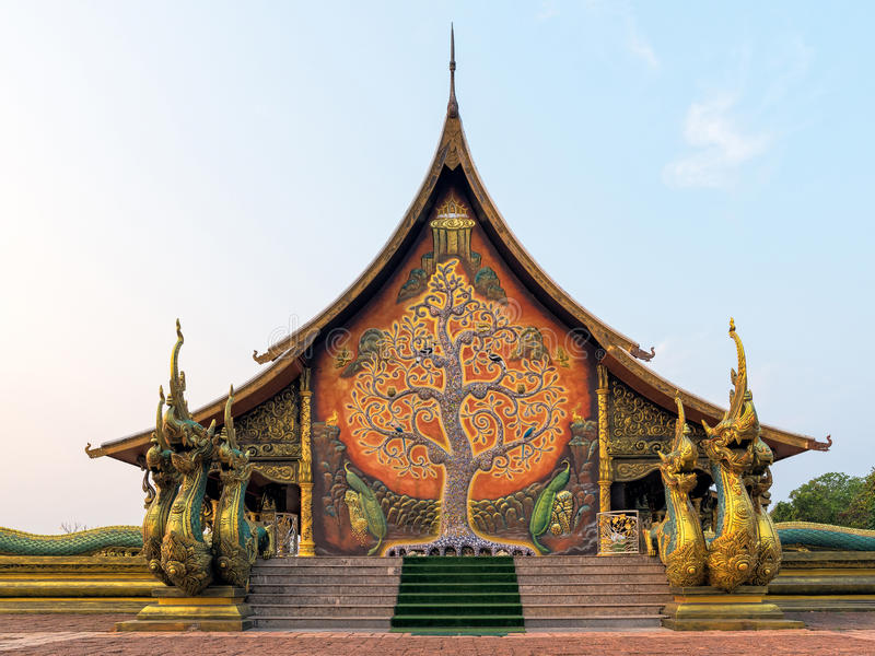 Temple Sirindhorn Wararam Phuproud in Thailand. Temple Sirindhorn Wararam Phuproud in Ubon Ratchathani Province with sunset sky, Thailand.The public temple of stock photo