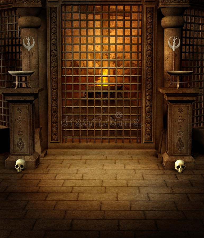 Temple with skulls. Old temple room with columns and skulls vector illustration