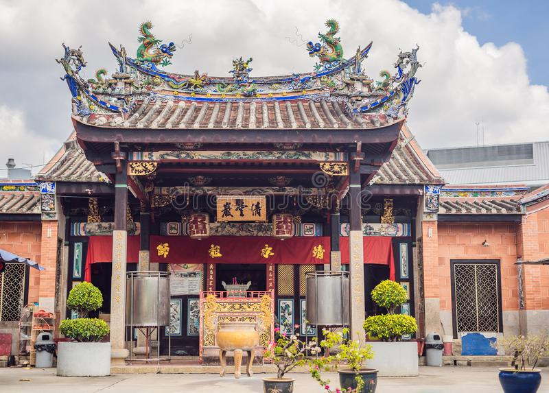 Temple of snakes with real snakes inside on the island of Penang, Malaysia stock photography
