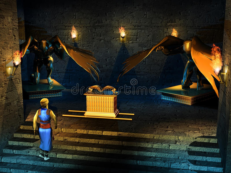 Into the temple of Solomon. Imaginary Ark of Alliance, or Ark of the covenant inside the Temple of Solomon. An hebrew priest approaches it royalty free illustration