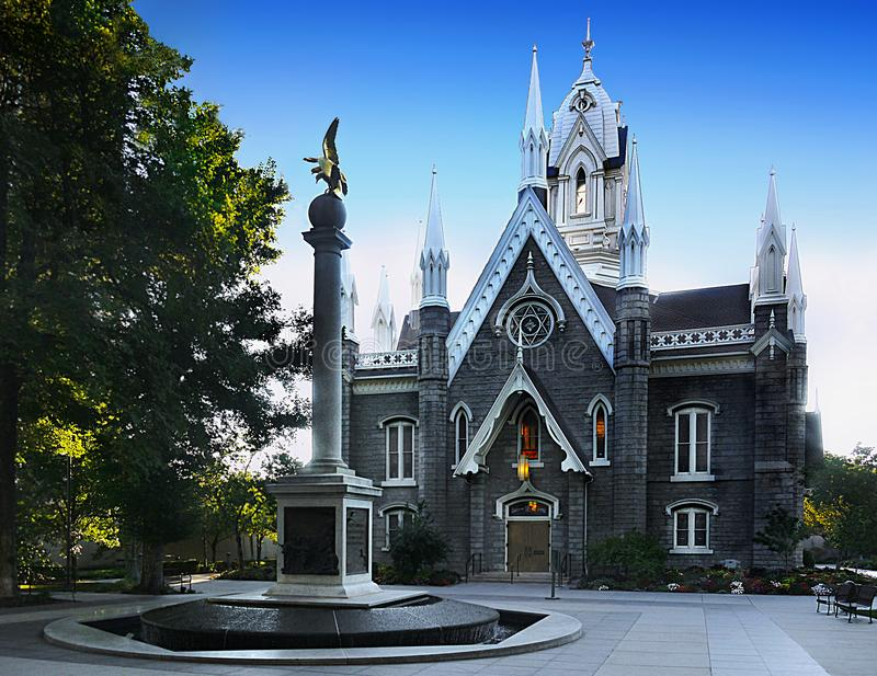 Salt Lake City Temple Square, Utah. Temple Square Assembly Hall, Temple Square, built in 1879, in the Gothic Victorian style. Salt Lake City, Utah, United States stock photo