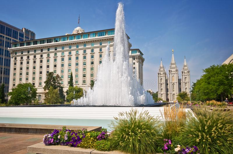 Temple square, foutain with the mormon temple in the background, Salt Lake City Utah. Temple square, foutain with the mormon temple in the background, Salt Lake royalty free stock photos