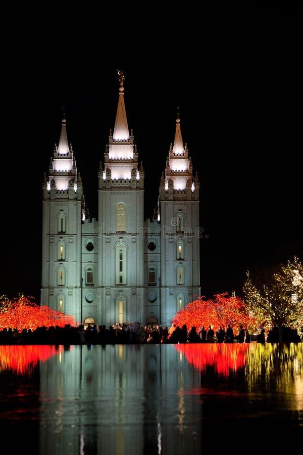 Temple Square Salt Lake City Utah with Christmas Lights stock photo
