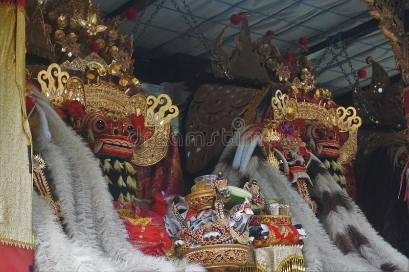 Temple statue Barong in Indonesia Bali animal. Figure royalty free stock photo