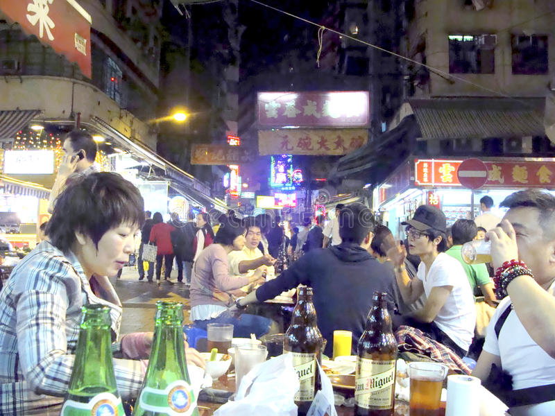 Temple Street, Hong Kong. Temple street is main street for alfresco night food and drink in Hong kong stock photo