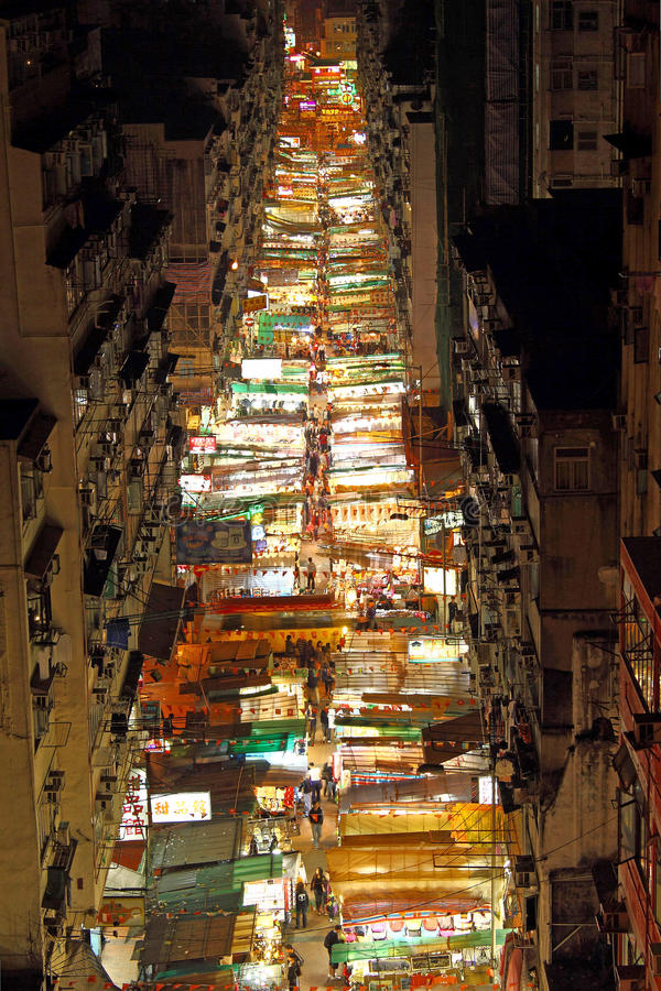 Download Temple Street With Many Booths In Hong Kong Editorial Stock Photo - Image: 20925628