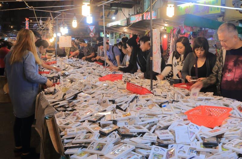 Temple street night market Hong Kong. People visit Temple street night market in Hong Kong stock photos