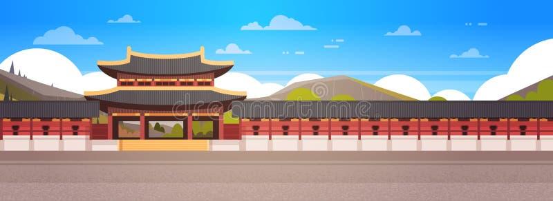 Temple sud-coréen de paysage de palais de la Corée au-dessus de bannière horizontale de position asiatique célèbre de point de re illustration stock