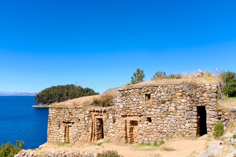 Temple of the Sun in Bolivia. Ruins of the Templo del Sol, or the Temple of the Sun, at the Isla del Sol, or the Island of the Sun on Lake Titicaca in Bolivia stock images
