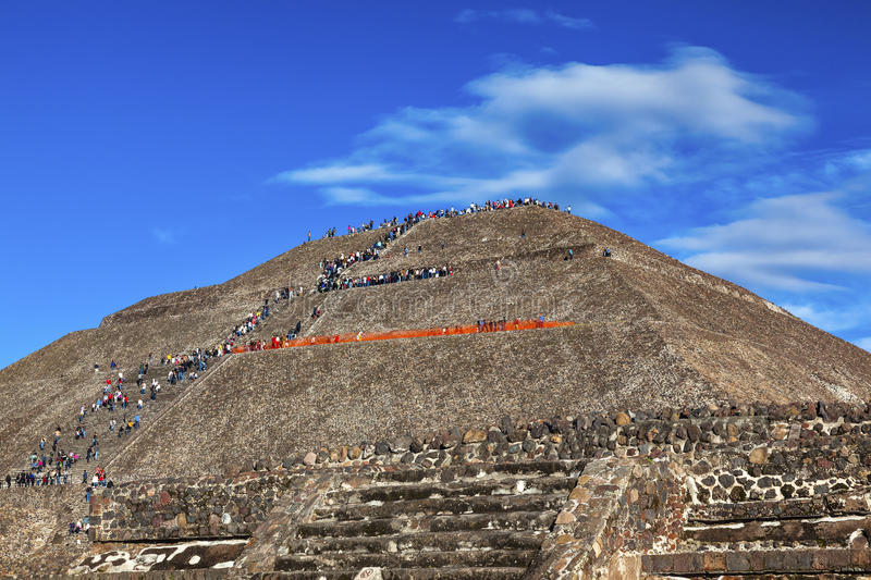 Temple of Sun Climbing Pyramid Teotihuacan Mexico City Mexico royalty free stock images