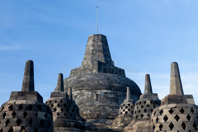 Temple supérieur de Borobudur au lever de soleil à Yogyakarta, Java, Indonésie photos stock