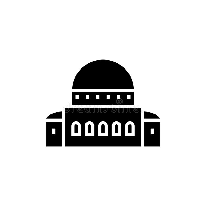 Temple - synagogue icon, vector illustration, black sign on isolated background. Temple - synagogue icon, illustration, vector sign on isolated background stock illustration