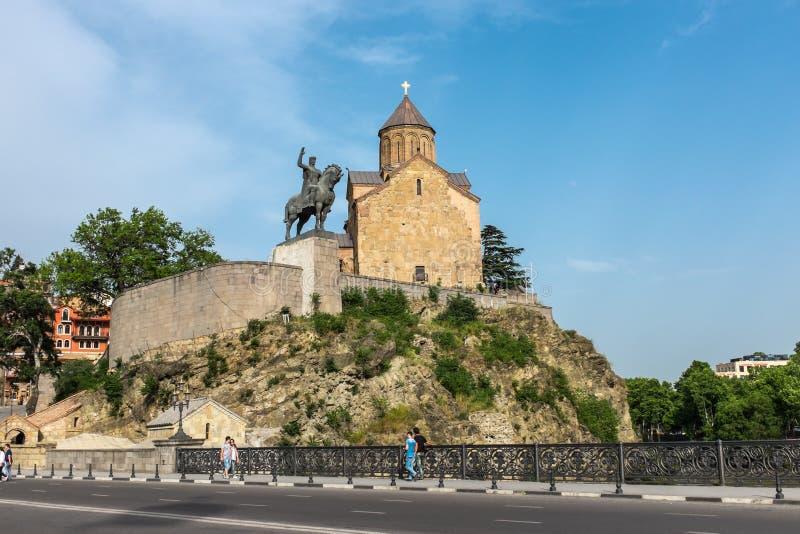 Temple Tbilisi Georgia Europe de Metekhi photographie stock libre de droits