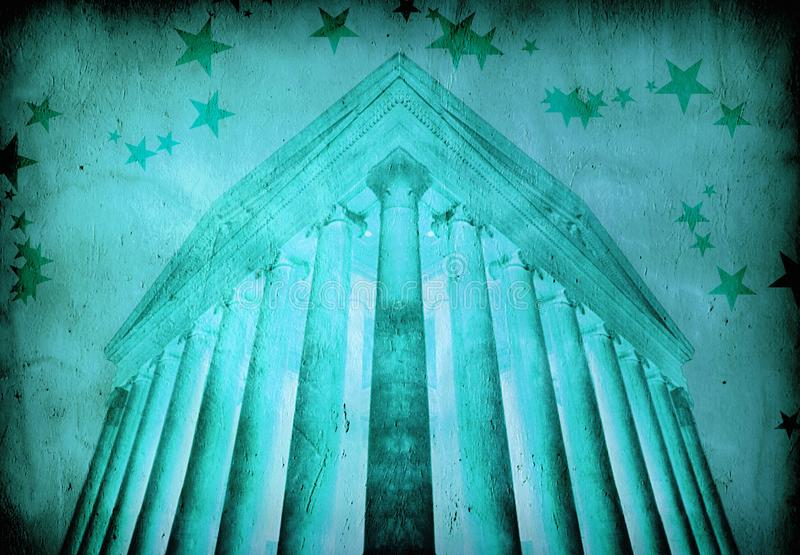 Temple. In ancient greek style. Background with rays royalty free illustration