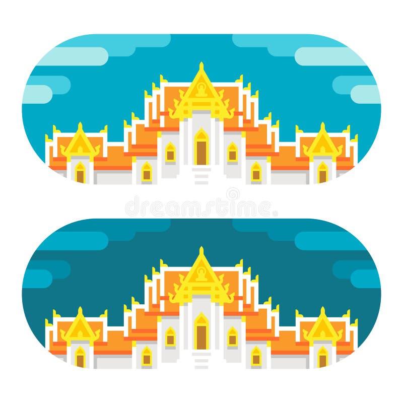 Temple thaïlandais de conception plate illustration stock