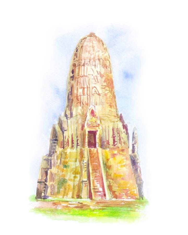 Temple in Thailand. Ayutthaya. The Buddhist stupas. royalty free illustration