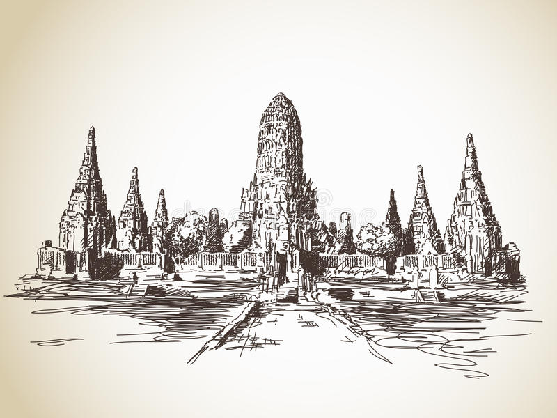 Temple in Thailand vector illustration