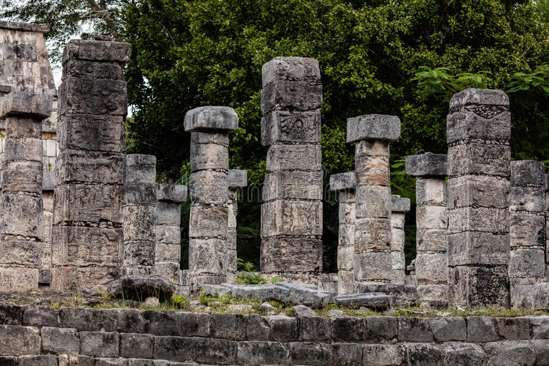 Temple of a Thousand Warriors in Chichen Itza. Columns in the Temple of a Thousand Warriors at the Chichen Itza archaeological area in Yucatan, Mexico stock images