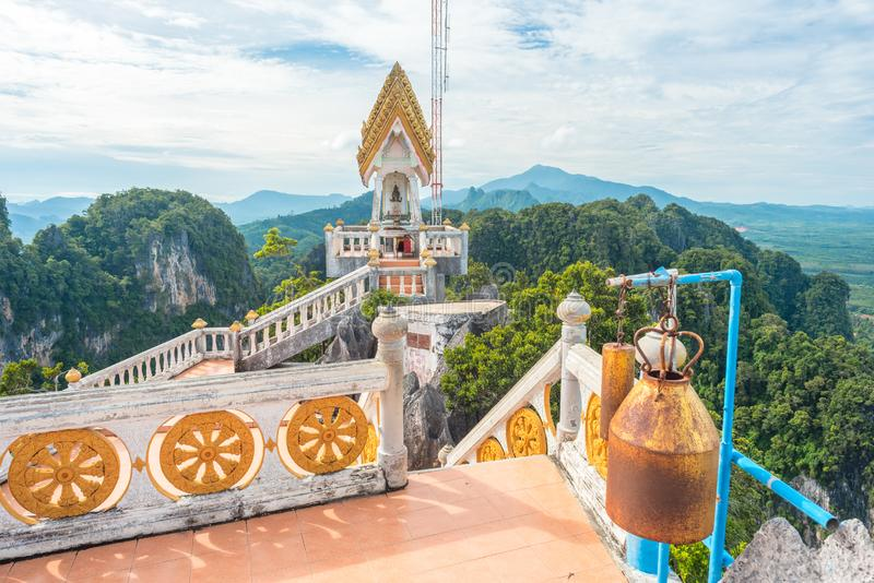 Temple of the Tiger Cave`s mountain in Krabi stock photo