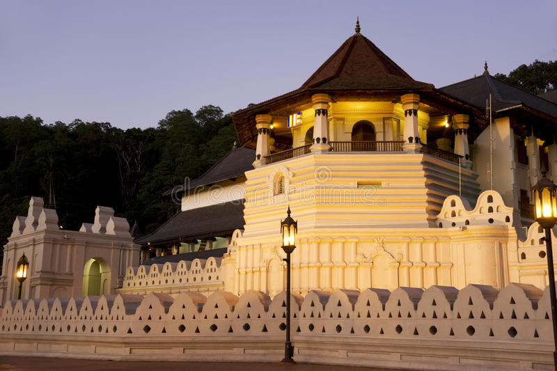 Temple of Tooth, Kandy, Sri Lanka. Night image of the Temple of Tooth at Kandy, Sri Lanka. This is a UNESCO's World Heritage site. The Temple of the Tooth is the royalty free stock photos
