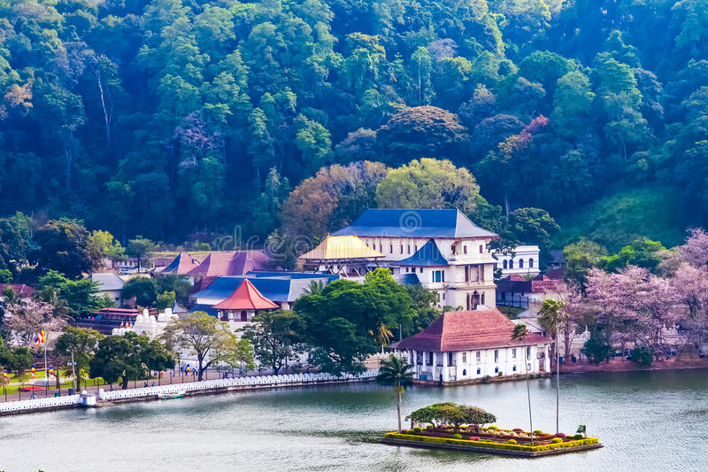 Temple of the Tooth, Kandy, Sri Lanka. Temple of the Sacred Tooth Relic (Sri Dalada Maligawa) is a Buddhist temple situated in world heritage site, Kandy, Sri stock images