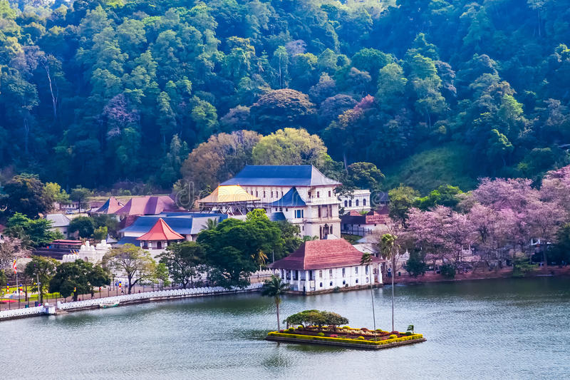 Temple of the Tooth, Kandy, Sri Lanka. Temple of the Sacred Tooth Relic (Sri Dalada Maligawa) is a Buddhist temple situated in world heritage site, Kandy, Sri stock photography