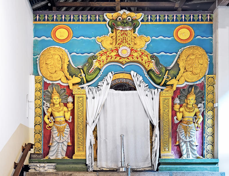 Temple of the Tooth (Sri Dalada Maligawa) fragment in Kandy, Sri Lanka. The interior of Temple of the Tooth (Sri Dalada Maligawa) in Kandy, Sri Lanka royalty free stock photos