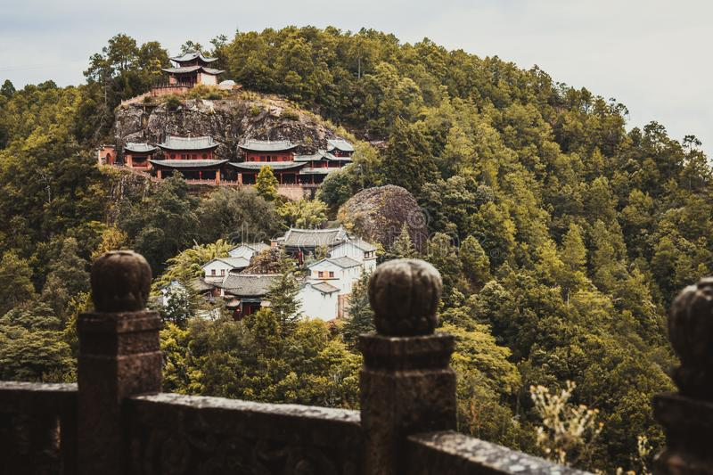Traditional Chinese Buddhist temple on top of a mountain. royalty free stock images