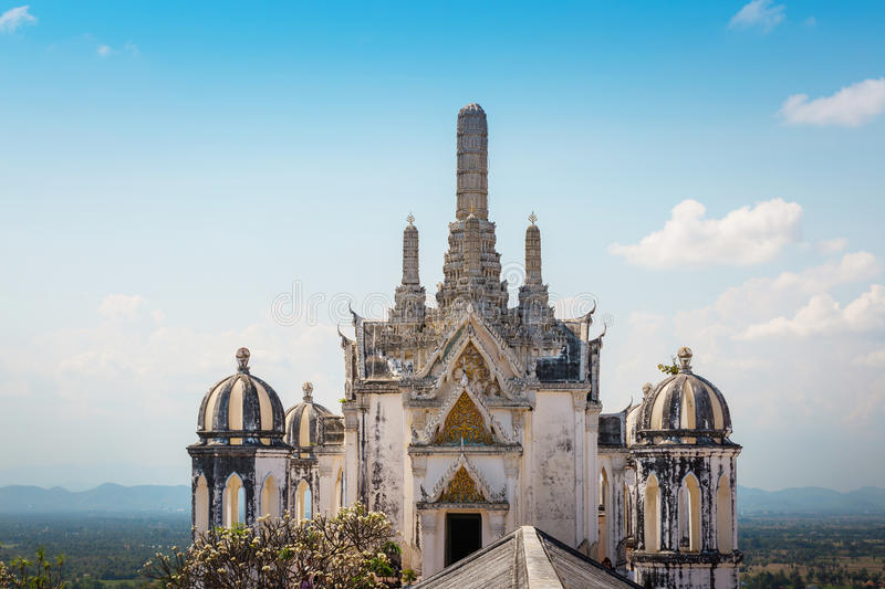 Temple on topof mountain,Architectural details of Phra Nakhon Khiri Historical Park (Khao Wang), Phetchaburi (Thailand) royalty free stock photo
