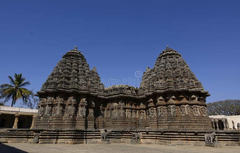 Temple Twin towers symmetrical. Chennakesava Temple at Somanathapura. Karnataka A prime example of hoysala architecture stock photography
