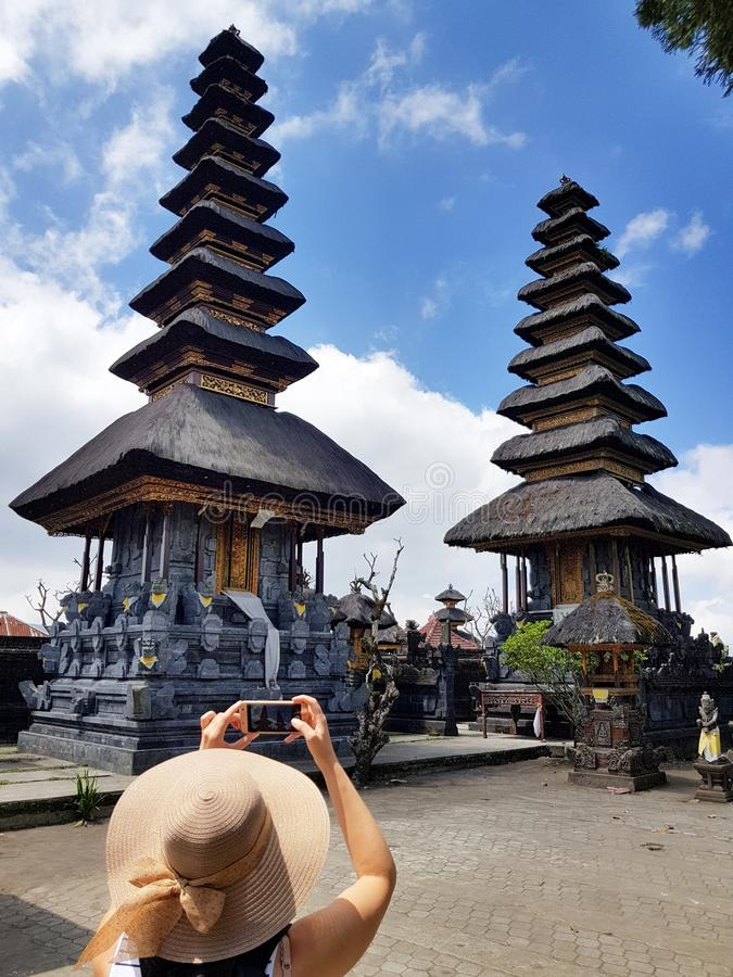 Temple Ulundanu Batur dans la région de Kintamani images libres de droits