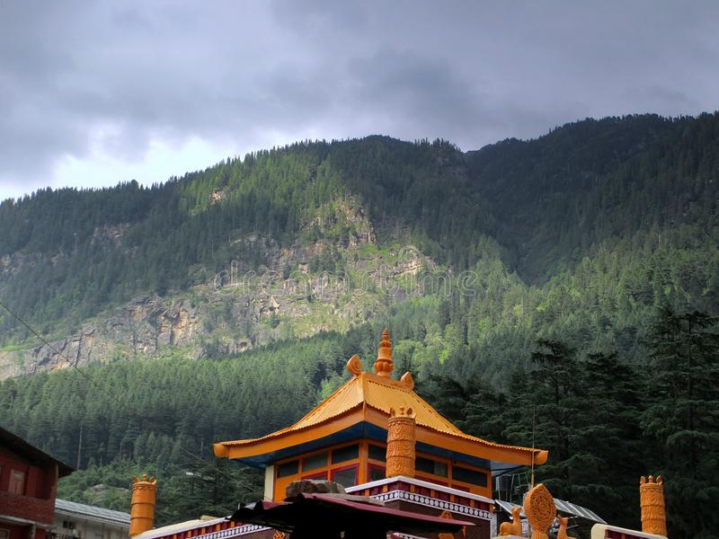 Temple Under Green Forest Mountain royalty free stock photo