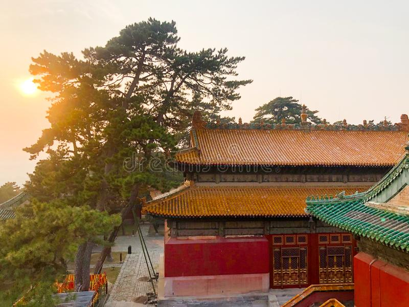 The Temple of Universal Happiness Pule si, also called the round Pavillion during sunset. This structure was built in 1766. Little temple at the starting point stock images