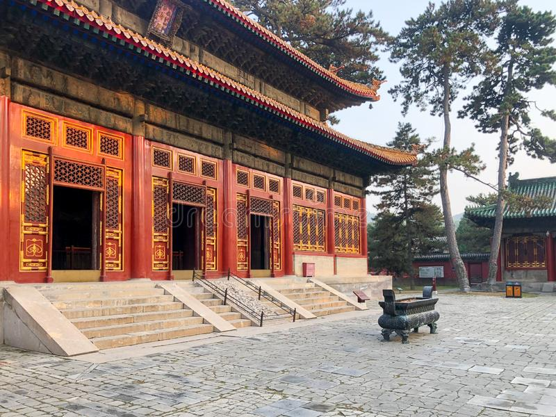The Temple of Universal Happiness Pule si, also called the round Pavillion during sunset. This structure was built in 1766. Little temple at the starting point royalty free stock photo