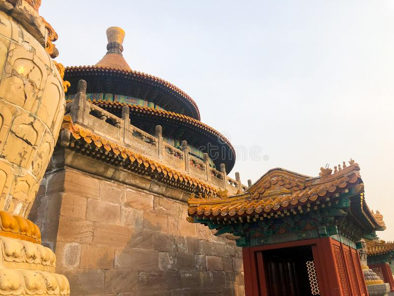 The Temple of Universal Happiness Pule si, also called the round Pavillion during sunset. This structure was built in 1766. Little temple at the starting point royalty free stock image