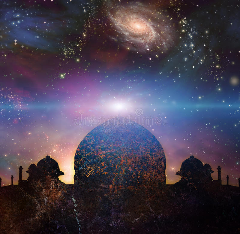 Temple of the universe. Temple in eastern style. Universe with galaxies on a background royalty free illustration