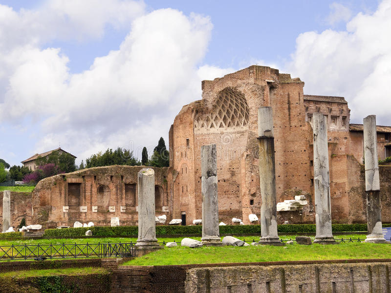 Temple of Venus and Roma in the Forum Ruins in Rome Italy royalty free stock photos