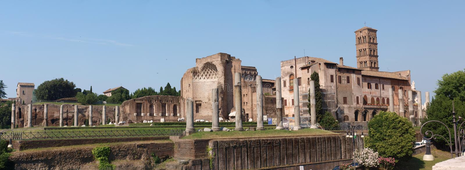Temple of Venus and Roma, Rome, Italy. The Temple of Venus and Roma on Forum Romanum, Palatine Hill, Rome, Italy. In the background, the tower of the Basilica of royalty free stock image