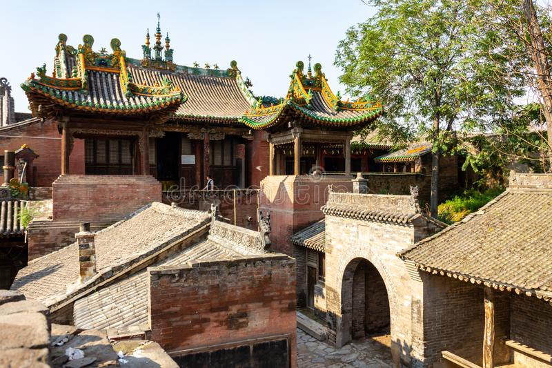 A temple in the village of Zhangbi Cun, near Pingyao, China, famous for it`s underground fortress stock image