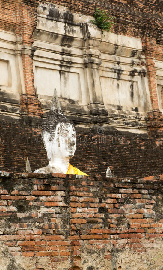 Temple wall. Buddha statue on large wall in temple stock photo