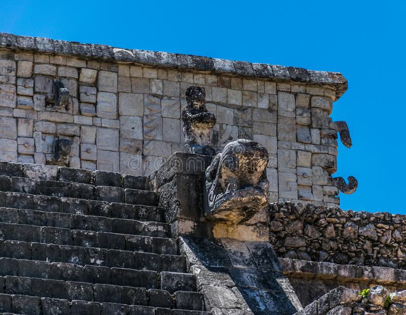 Temple of the Warriors and Thousand Columns at Chichen Itza, Mexico stock photo