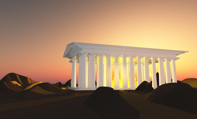 Temple of white. With fires stock illustration