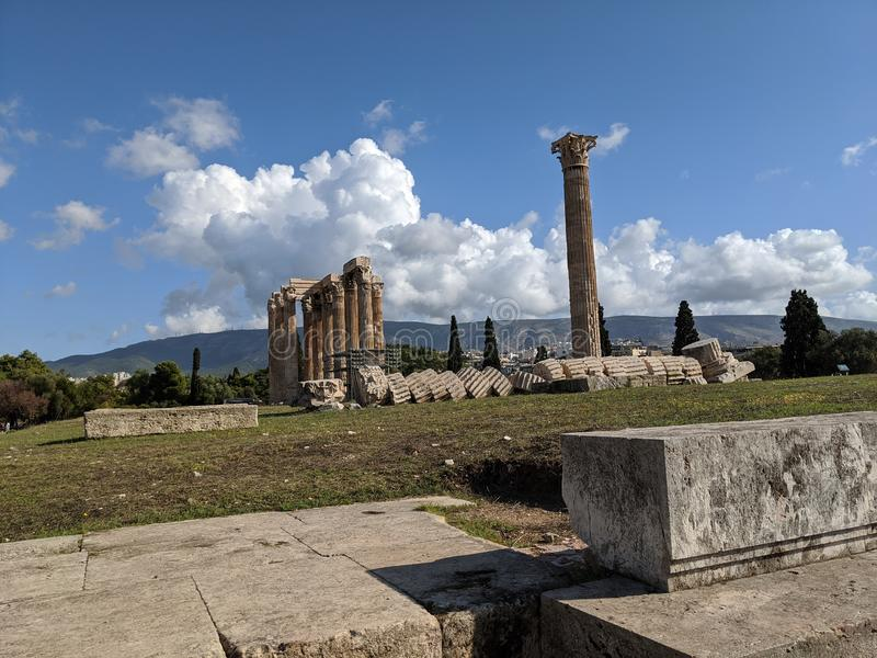 Temple of zeus Athens greece royalty free stock images